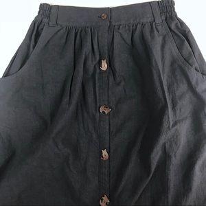 John-John Denim Midi Skirt w/ Cat Buttons